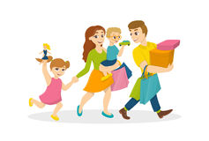 Family do shopping. Happy parents with children with shopping bags Stock Image