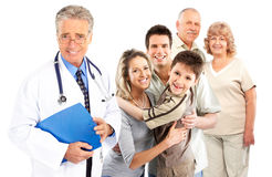 Family doctor. Smiling family medical doctor and young family. Over white background Royalty Free Stock Images