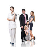 Family at the doctor appointment Royalty Free Stock Image