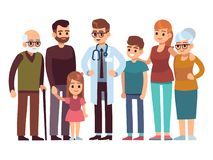 Family doctor. Big happy health family with therapist, patients parents kids healthcare professional service, flat. Family doctor. Big happy health family with royalty free illustration