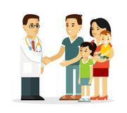 Family doctor concept with young practitioner and happy patients in flat style  on white background Royalty Free Stock Photo