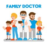 Family doctor. Cute doctor stand with happy healthy family. Good service private doctor which work and examines you in your home. Modern alternative medicine for vector illustration