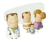 Family doctor vector illustration