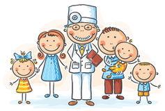 Family doctor. With his patients Stock Photos