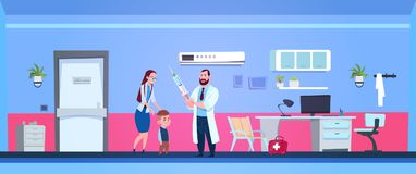 Family Doctor Holding Syringe In Hospital Room With Mother And Small Son. Flat Vector Illustration Stock Photo