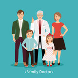 Family doctor medicine concept. Family doctor vector illustration. Young happy patients and smiling practitioner portrait medicine concept Royalty Free Stock Photography