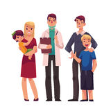 Family doctor with patients, father, mother and children. Standing together, cartoon vector illustration isolated on white background. Family with a doctor Royalty Free Stock Photography
