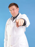 Family doctor pointing Stock Image