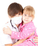 Family doctor woman with little patient Royalty Free Stock Images