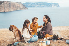 Family with dog in autumn hike Stock Photography