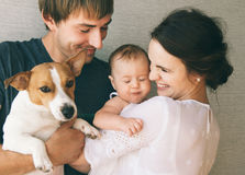 Family and dog Royalty Free Stock Photo