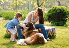 Family and dog Stock Images