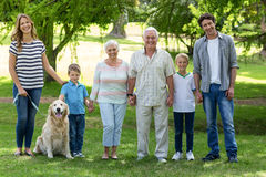 Family with dog in the park Royalty Free Stock Photos