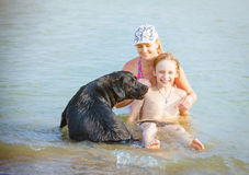 Family with dog playing in water Royalty Free Stock Image