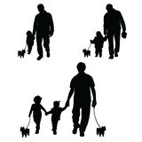 Family with dog set silhouette illustration in black Royalty Free Stock Images