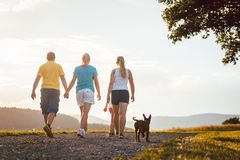 Family and dog walking home Stock Photos