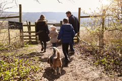 Family and dog walking to gate in the countryside, back view Royalty Free Stock Image