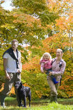 Family and dog walking in woods Stock Images