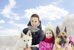 Family and dog Stock Photography