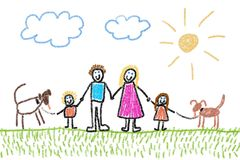 Family with dogs Royalty Free Stock Photos