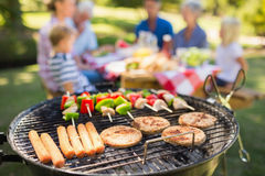 Family doing barbecue in the park Stock Images