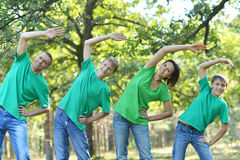 Family doing exercises Royalty Free Stock Photos
