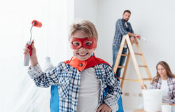 Family doing home renovation Royalty Free Stock Image