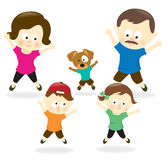 Family doing jumping jacks Royalty Free Stock Photos