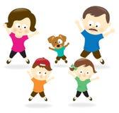 Family doing jumping jacks Royalty Free Stock Photos