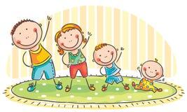 Family doing morning exercises stock illustration
