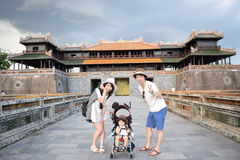 Family is doing sightseeing at Fue Vietnam Royalty Free Stock Photography