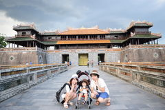 Family is doing sightseeing at Fue Vietnam Royalty Free Stock Images