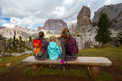 Family at the Dolomites Royalty Free Stock Photos