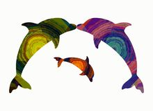 Family of dolphins, abstract pattern.  Royalty Free Stock Photos
