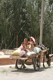 Family in donkey cart Stock Photography