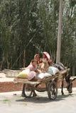 Family in donkey cart Stock Photography