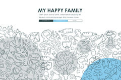 Family Doodle Website Template Design Royalty Free Stock Photography