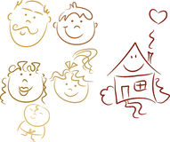 Family Doodles: Happy family. Happy family, happy home: Set of colorful family doodles including mom, dad, daughter, son, baby and house, hand-drawn; isolated stock illustration