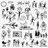 Family doodles set Stock Photography