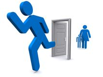 Family and door illustration Stock Photography