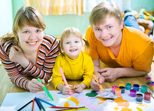 Family draw. Family mother father and child draw Royalty Free Stock Images