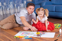 Family  draw on a floor Royalty Free Stock Image
