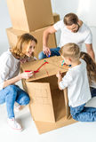 Family drawing on cardboard box Stock Image