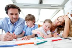 Family drawing pictures Stock Images