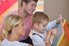 Family drawing on school board at home Royalty Free Stock Photography
