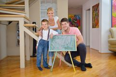 Family drawing on school board at home Stock Photography