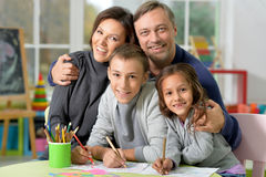 Family Drawing Together Royalty Free Stock Photo