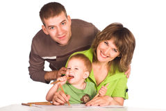 Family drawing on white Stock Photo