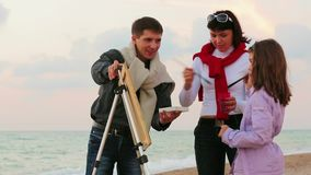 Family Draws On The Sea stock video footage