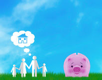 Family Dream Concept. Family home, dream concept, paper cut people icon and piggy bank Stock Photos